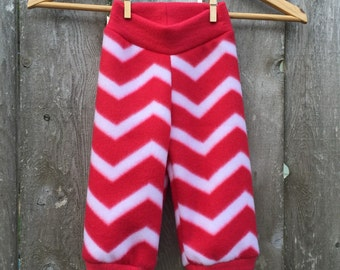 Size Medium --- Red and White Striped Fleece Baby Pants (((ready to ship)))