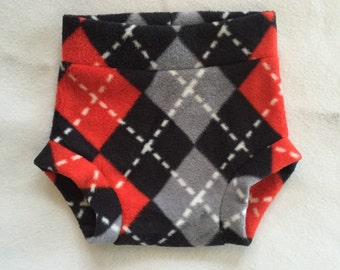 Size Large --- Anti Pill Fleece Diaper Cover --- Argyle Black Red Gray (((ready to ship)))