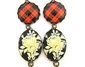 Scottish Tartan Jewelry - Tartans Special Occasion Collection - MacLeod of Raasay Cameo Tartan Earrings