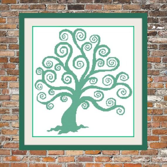 Swirly Tree - a Counted Cross Stitch Pattern