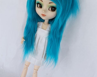 Doll Turquoise Pullip wig Long in front MonstroDesigns