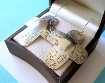 Large Sterling Silver Stamped Taxco Cross Earrings