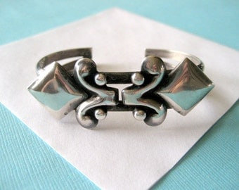 Vintage Sterling Silver Abstract Taxco Cuff
