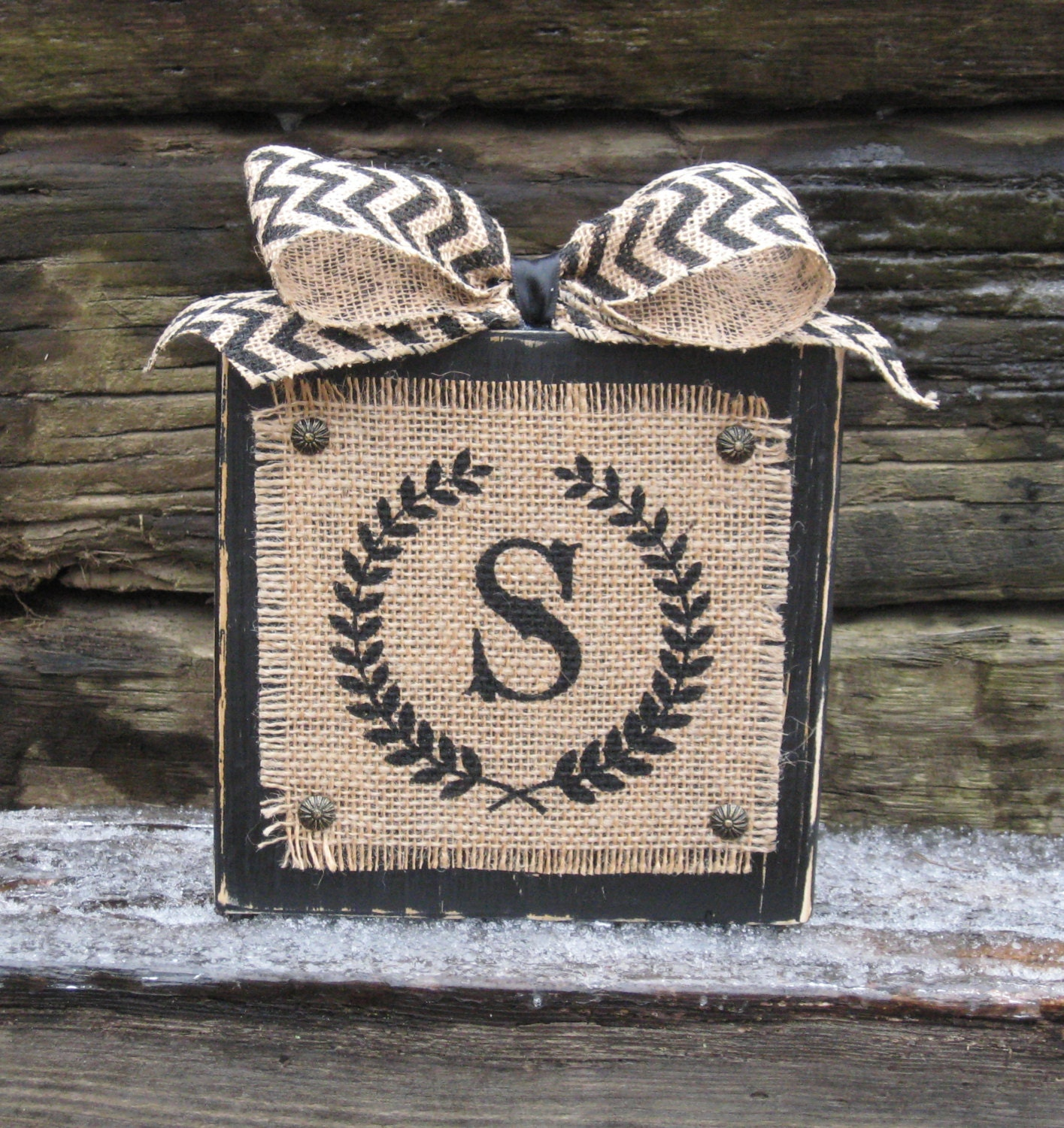 Burlap And Wood Sign Personalized Initial By Delightfuldaisy