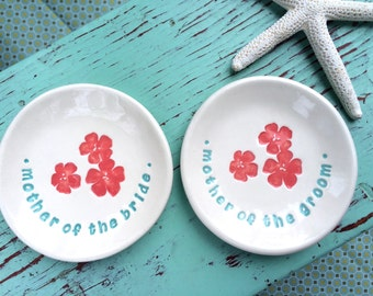 Mother of the Bride and Mother of the Groom set of Trinket Dishes, Ring Dishes for Mother of the Bride and Mother of the Groom