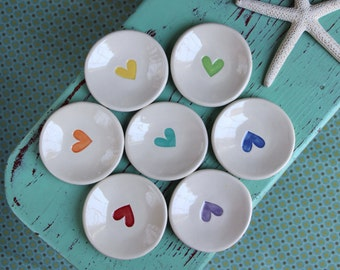 Heart on Mini Round Dish, Ring Dish with Heart Design, Trinket Dish with Heart