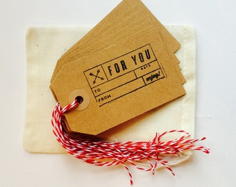 10 Recycled Paper Tie Gift Tags