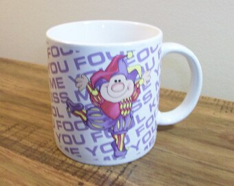 Vintage Collectible Coffee Mug by Dakin 'Kiss Me You Fool' (1987). Happy Court Jester Vintage Mug. R. Dakin Vintage Coffee Cup