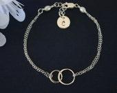 Initial Friendship Bracelet, Infinite Bracelet, Infinity Jewelry, Best friend Gift, Sterling Silver Bracelet