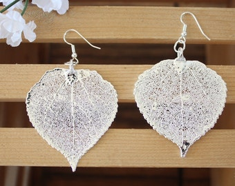Aspen Silver Leaf Earrings, Large Aspen Leaf , Real Leaf Earrings, Real Silver Aspen Leaf, Sterling Silver, Nature, LEP68