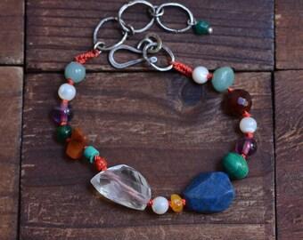 Mixed Stone Knotted Bracelet - Boho Colorful Bracelet - Oxidized Sterling Silver Link Bracelet - Lapis Lazuli Bracelet - Quartz Bracelet