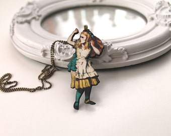 Alice in Wonderland necklace wooden pendant kawaii victorian egl lolita