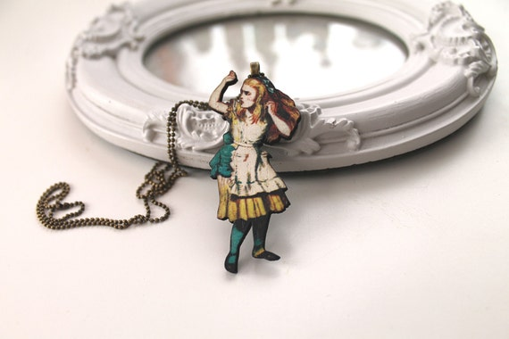 Alice in Wonderland necklace wooden pendant kawaii victorian egl lolita