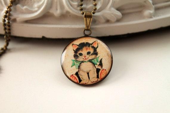 Kawaii cat simple necklace cute lolita girl kitten kitteh kitty retro