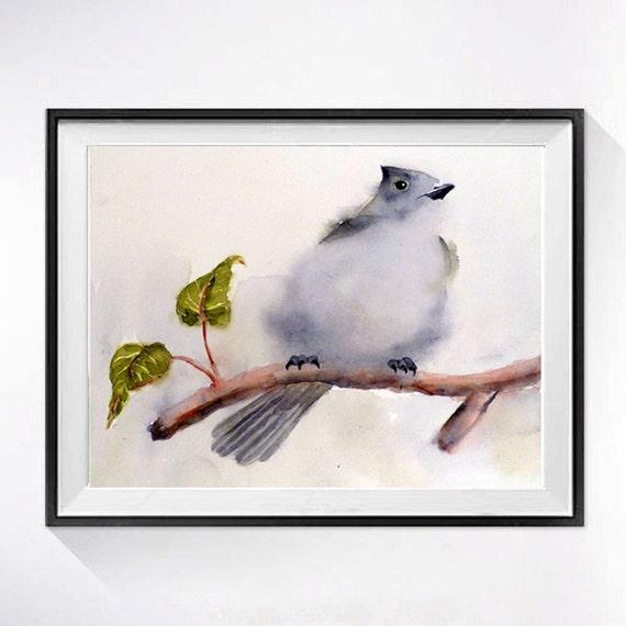 Woodland Animal Art Prints | Nature Bird Prints, Oak Titmouse song bird print, Fine art watercolor, Grey painting, Natural history art print