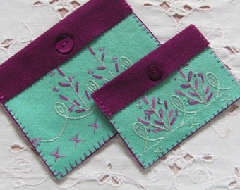 pouch for sewing notions, wool felt pouches, sewing accessory, handbag organizer