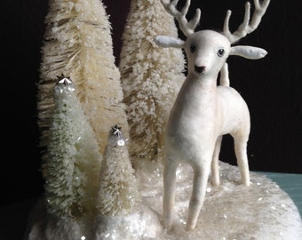 WINTER SALE Large spun cotton deer woodland centerpiece