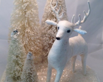 Spun cotton white deer woodland centerpiece
