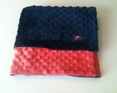 Minky Blanket- Coral and Navy Blue  35 x 30   Your second Item ships Free