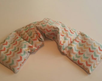 Rice heating pad, microwave heat pack, hot cold pack, rice bag, shoulder heating pad, scented or unscented/ peach multi chevron