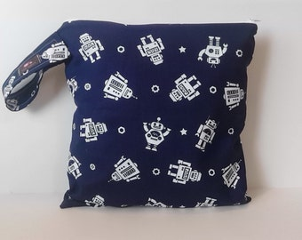 Wet Dry Bag, Wet Bag , Diaper Bag, Cloth Diaper Wet Bag, Gym Bag, Swim suit bag,  Navy Robots