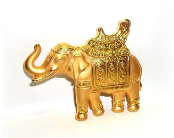 Elephant JJ pin Jonette brooch gold tone vintage jewelry