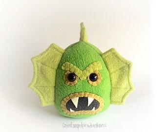 Black Lagoon Creature Plushie, Stuffed Plush Green Swamp Monster, READY TO SHIP