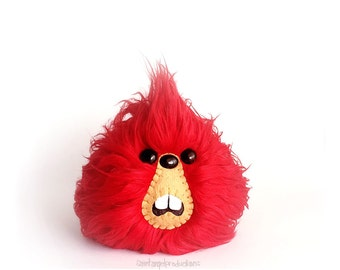 Red Monster Furry Plush, Weird Fluffy Handmade Fuzzy Plushie, READY TO SHIP