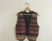 Vintage 1990s woven leather vest bohemian
