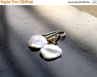 Clearance SALE Keishi Petal Pearl Wire Wrapped Gold Filled Dangle Earrings