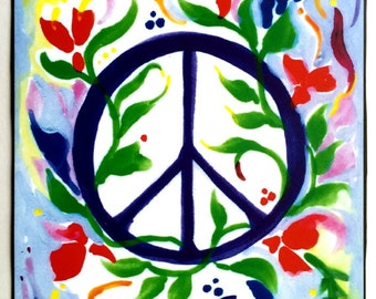 PEACE SIGN Inspirational Print Motivational College Dorm Poster 1970's Hippie Symbol Family Friends Gift Heartful Art by Raphaella Vaisseau