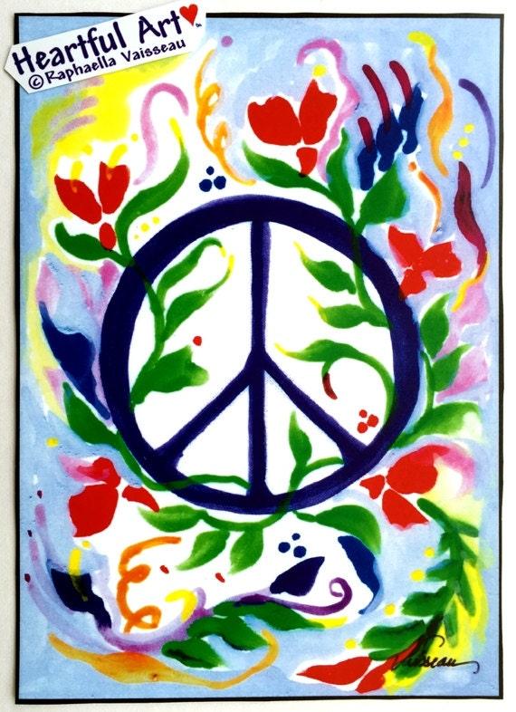 PEACE SIGN Inspirational Print Motivational College Dorm Poster 1970's Hippie Symbol Family Friends Gift Heartful Art by Raphaella Vaisseau