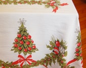 1960s Mid Century Xmas Tablecloth Holiday Christmas Trees and Holly 1950s Red Green and White Swags