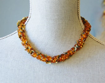 Vintage Miriam Haskell Amber Glass Bead and Metal Necklace Signed Ornate Autumn On Trend Choker
