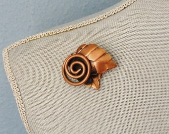 1950s Rebajes Copper Brooch Leaves and Swirl Design Vintage Mid Century Fall Fashion