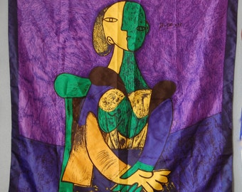 Large Vintage Picasso Scarf 1980s 90s Purple Yellow Green Abstract Shawl