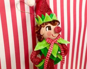 Elf doll elf ornament red white green christmas ornament christmas elf boy vintage retro inspired party decor ooak art doll