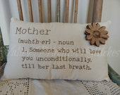 Hand Stitched Mother Definition Pillow, Burlap Alphabet, Burlap Lace Flower, MDCFAAP, Mothers Day