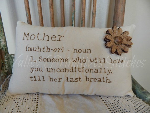Hand Stitched Mother Definition Pillow, Burlap Alphabet, Burlap Lace Flower