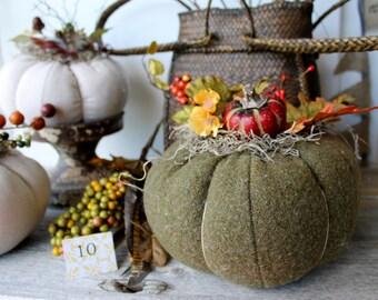 Sage Green Wool Pumpkin, Fabric Pumpkin, Fall Decor, Autumn Gatherings, Thanksgiving Ideas, Centerpiece, Halloween, Wedding, Lodge Decor