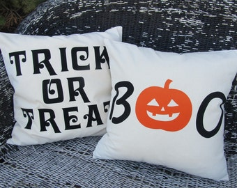 TRICK or TREAT and B00 HALLOWEEN Pillow Case Combo set
