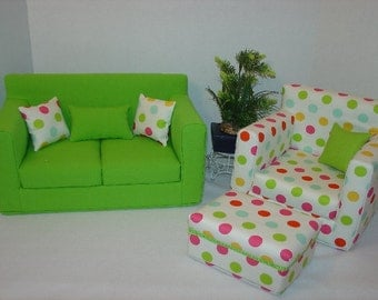 CHRISTMAS SALE......10% off......18 Inch Doll Sofa, Chair, and Ottoman, Colorful Polka Dots, Green,  Handmade Doll Furniture