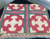 Vintage Hand Quilted Early Red, Green, and Khaki Thinner Cutter Quilt Piece