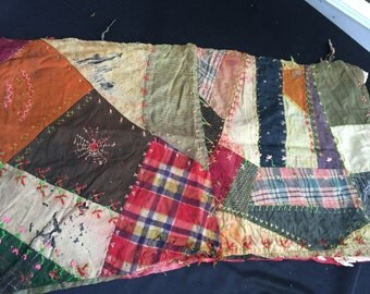 Vintage Hand Quilted Well Loved Tattered and Torn Crazy Quilt Cutter Quilt Piece