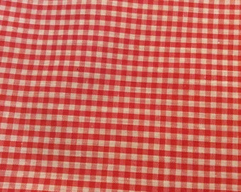 2 1/2 Yards of Vintage Red and White Gingham Check Cotton Fabric
