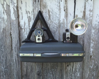 Vintage 1970's Era Samsonite Charcoal Grey Gray Upcycled Suitcase Luggage Repurposed into a Wall Shelf