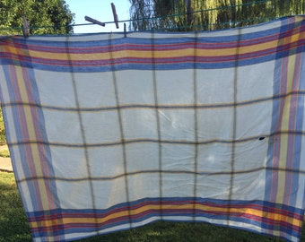Vintage White with Blue, Red, and Yellow Window Pane Cutter Tablecloth