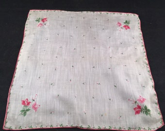 Vintage Pink and White Roses Print Ladies' Hankie/Handkerchief