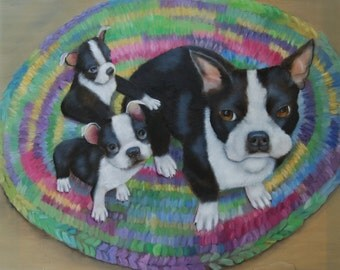 Boston Terrier and Puppy Oil Painting 24 x 24