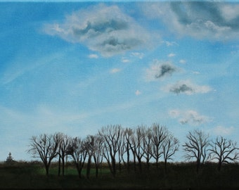 Drive in the Country Landscape Sky Cloud Original Painting